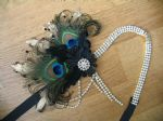 "Peacock Feathers Crystal Flapper 1920's Art Deco Headband Cocktail Party Headpiece - Downton Abbey Gatsby ""Lou"""